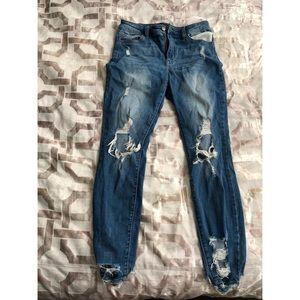 Blue denim distressed jeans